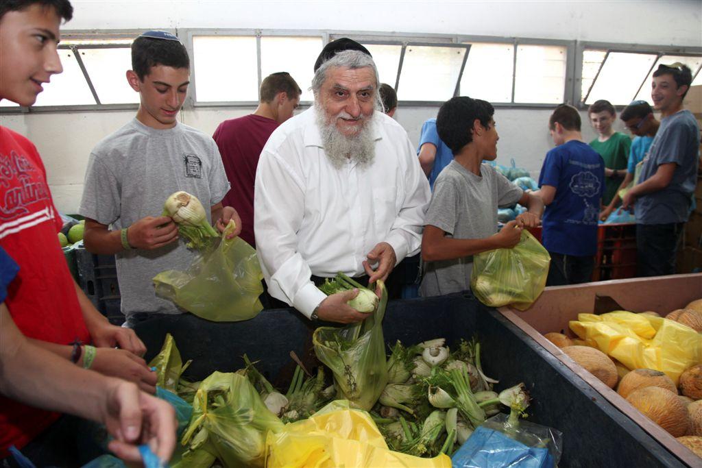 יור חסדי נעמי- הרב יוסף כהן ומתנדבים אורזים פרות וירקות לחלוקה לקראת החג